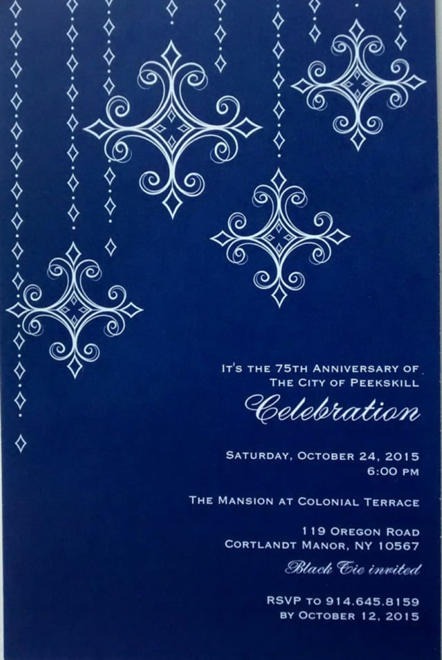 Peekskill will celebrate its 75th anniversary at a gala on Oct. 24 at The Mansion at Colonial Terrace in Cortlandt Manor.
