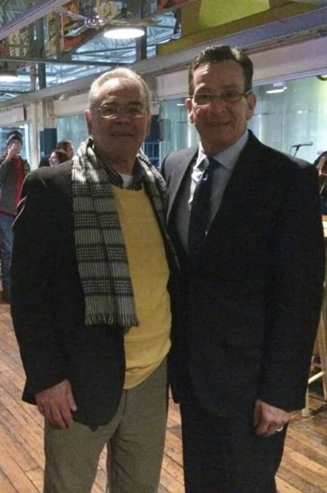 Len Petruccelli, seen here with Gov. Dannel Malloy, announced he will run for Mayor.