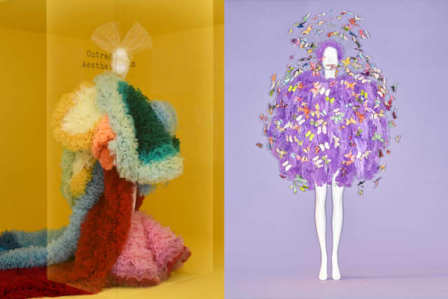 Left: Outrageous Aestheticis. Image courtesy The Metropolitan Museum of Art, BFA.com/Zach Hilty. Right: Clockwise from top left; Ensemble, Jeremy Scott (American, born 1975) for House of Moschino (Italian, founded 1983), spring/summer 2018; Courtesy Moschino. Image courtesy The Metropolitan Museum of Art, Photo © Johnny Dufort, 2019