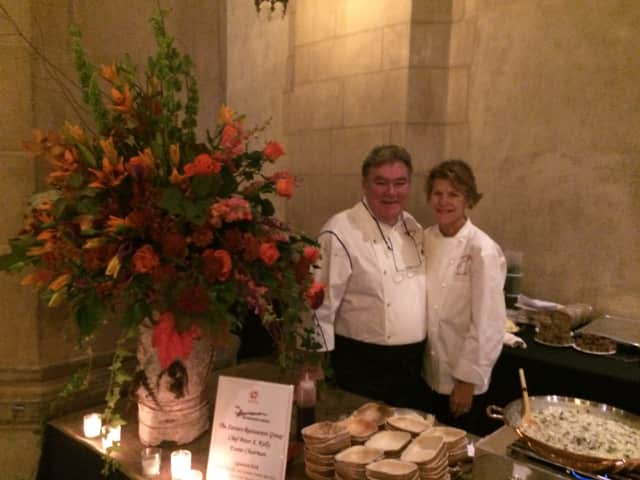 Chef Peter X. Kelly and his wife, Rica, working another fundraiser.