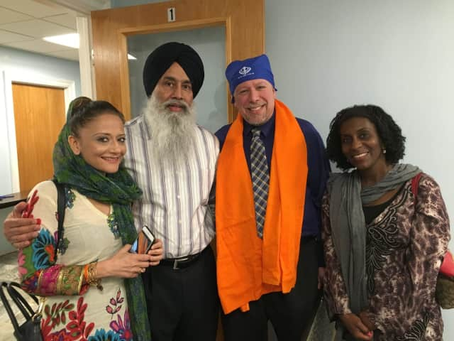 Glen Rock Mayor Bruce Packer visits the Gurudwara Sikh Temple.