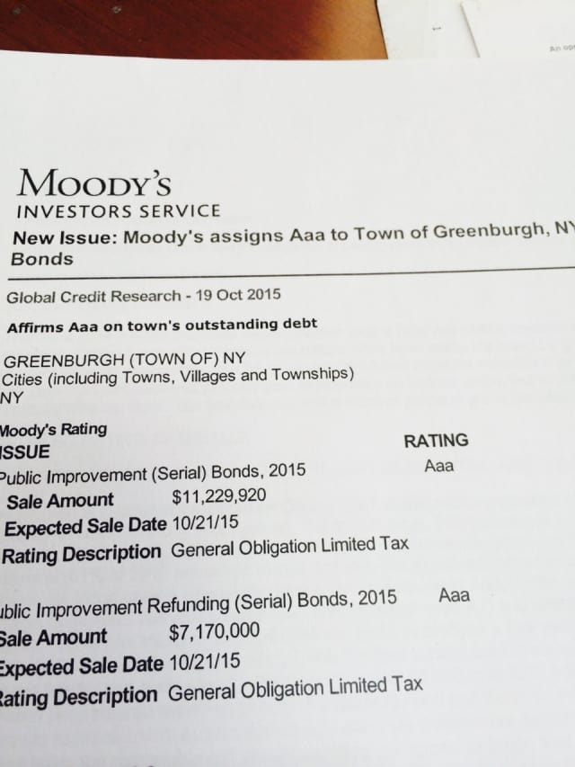 The town of Greenburgh has received a AAA bond rating for Moody's and Standard & Poor's, a recent report shows.