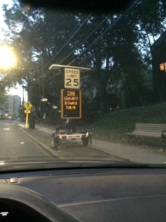 A new electronic sign will show driver's their speed, and the number of tickets issued, in an effort to slow down speeders that residents have been complaining about for years.