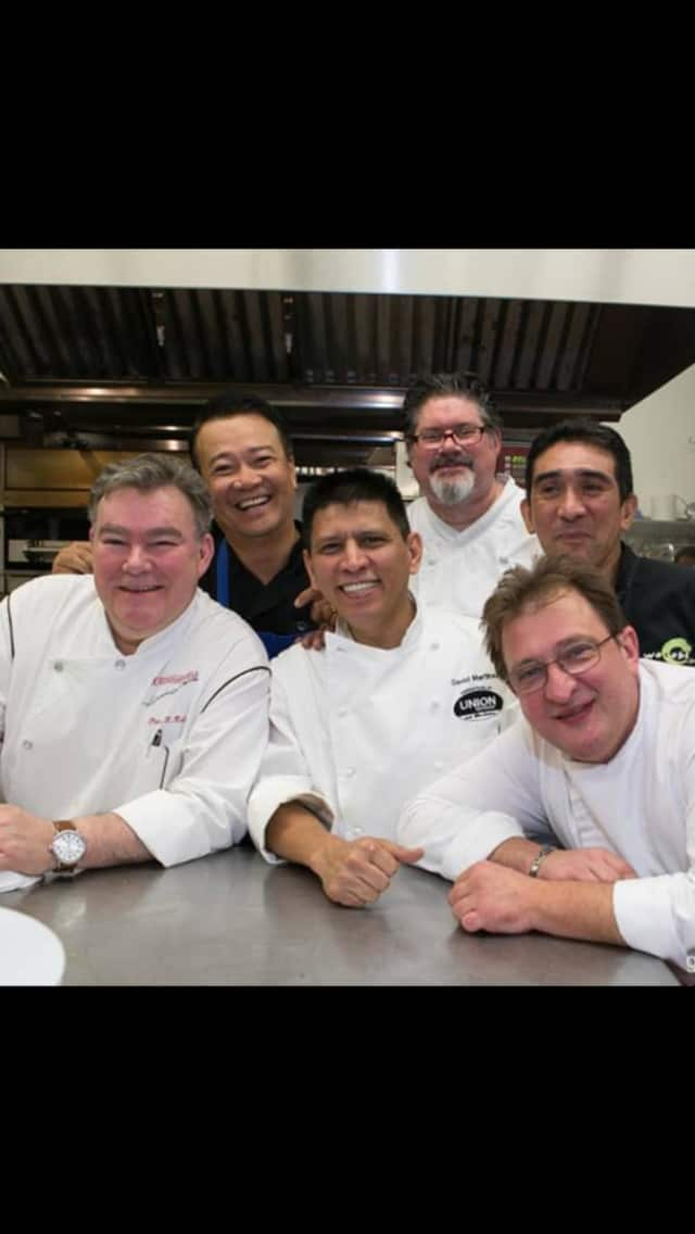 Peter X. Kelly with fellow chefs at the Corks and Forks event in New City.