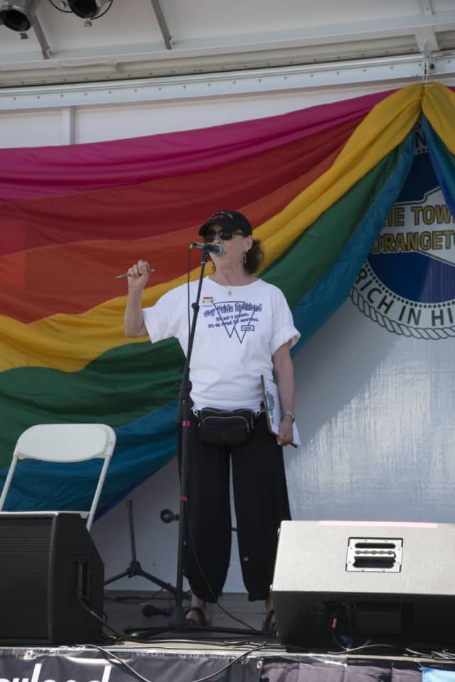 Phyllis B. Frank addresses the crowds in Nyack on June 12 during Pride Weekend.
