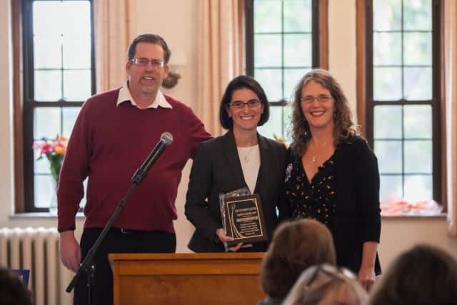 State Rep. Cristin McCarthy Vahey of Fairfield receives a leadership award from the Keep the Promise Coalition.