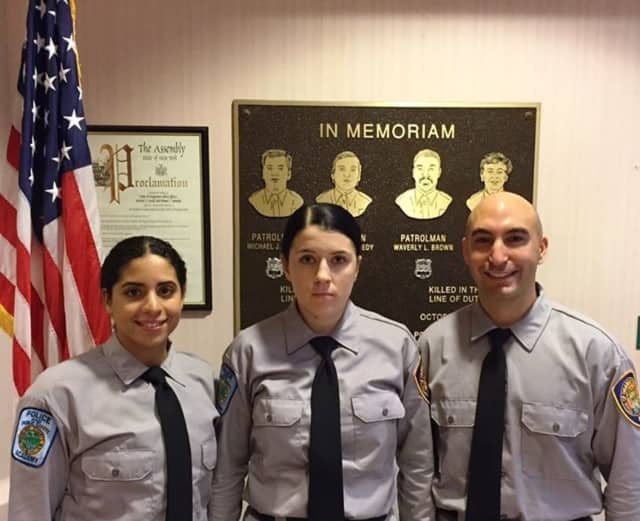 Carah Depeter, Danielle Miller and Gregory Cappezzuto are current recruits at the Rockland County Police Academy.