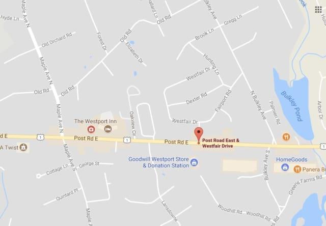 Post Road East in Westport is closed between Bulkley Avenue and Maple Avenue.
