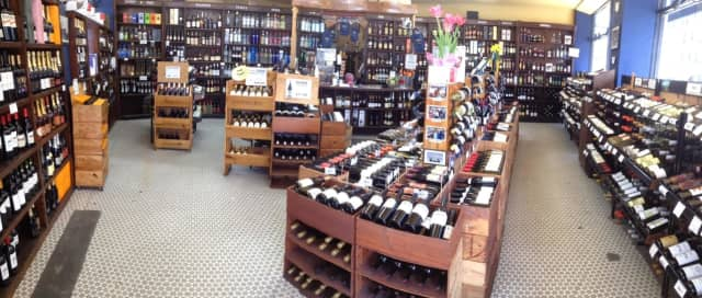 The interior of Post Wine & Spirits in Larchmont.