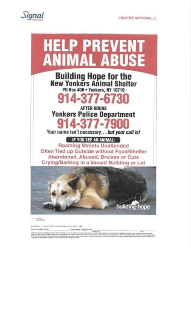 Help Prevent Animal Abuse posters are being installed at Yonkers bus stops and eventually elsewhere in Westchester County.