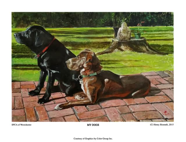 Henry Bismuth recently adopted a lab/shar pei mix from the SPCA of Westchester, named Coco Chanel. he painted a portrait of Coco and her brother Monty. He is donating poster-size prints for the SPCA to sell to raise funds for the shelter.