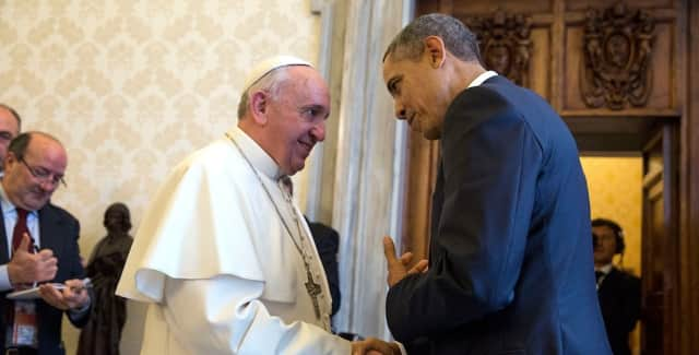 Pope Francis chats with President Barack Obama during the pontiff's visit to Washington.