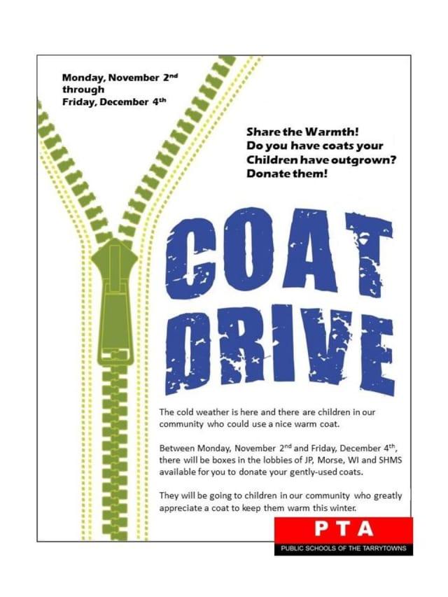 A coat drive is under way in Tarrytown Schools.