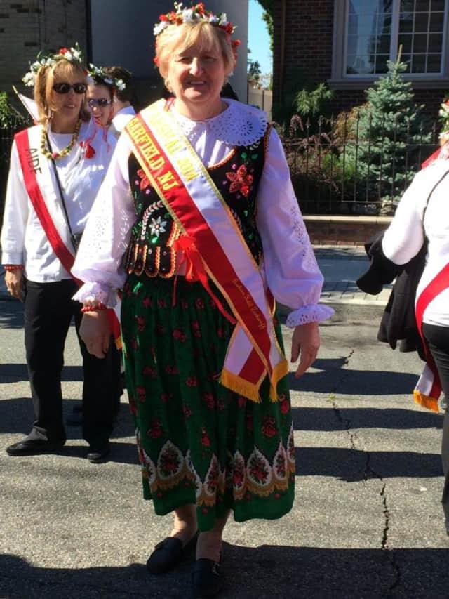 Barbara Zackaroff marches in the annual Pulaski Parade.