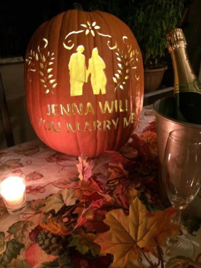 Jonathan Ehrlich used this pumpkin to propose to Jenna Bonvino at The Great Jack O'Lantern Blaze.