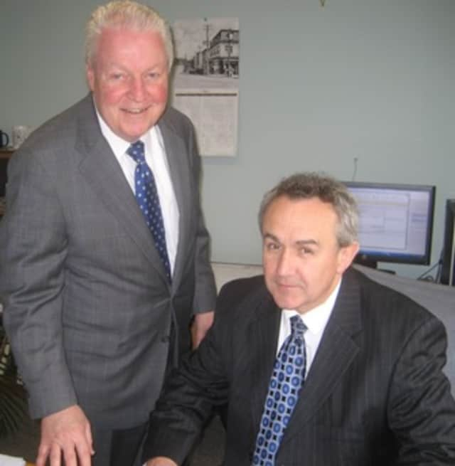 First Selectman Mike Tetreau and new Purchasing Director Gerald Foley.