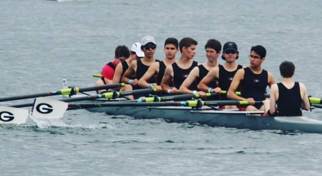 The Rye High School Men's Lightweight team is shown, from left, Arthur Burke, Teddy Clarke, Andy Gomez, Alex Farres-Centano, Troy Gilman, Ethan Fogarty, Hall Luthringer, Victor Gomez and Blake McGowan as coxswain.