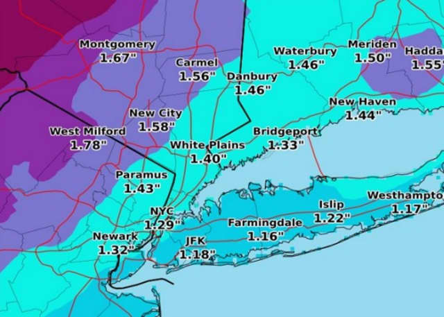 Monday's projected rainfall totals.