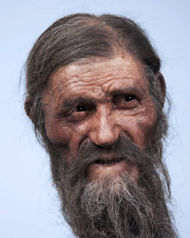 """This reconstruction of Otzi the Iceman's face and head was made in 2011. This Friday, the world premiere of a comedic play, """"100 Famous Views of Otzi,"""" will open in the Felician College Little Theatre."""