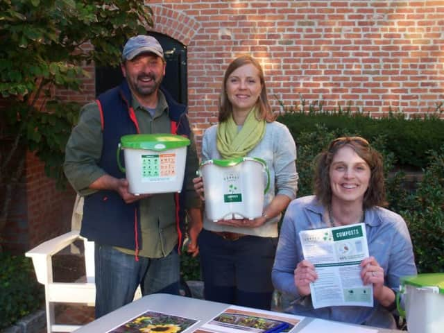 Pictured (From L to R): Jeff Demers, Owner, New England Compost, Danbury; Katrina Kazda, Director of Programs, Sustainable America, Stamford; Tilly Hatcher, Project Manager, Spinnaker Real Estate Partners, South Norwalk.