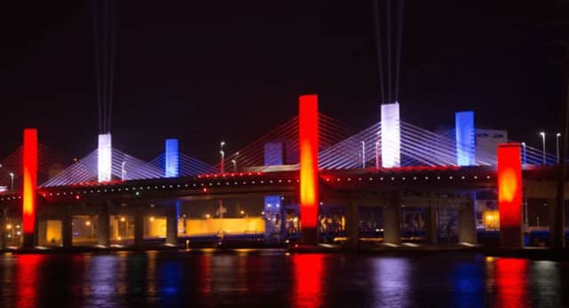 The QBridge in NewHaven will be lit red, white & blue this weekend to commemorate the anniversary of September11.