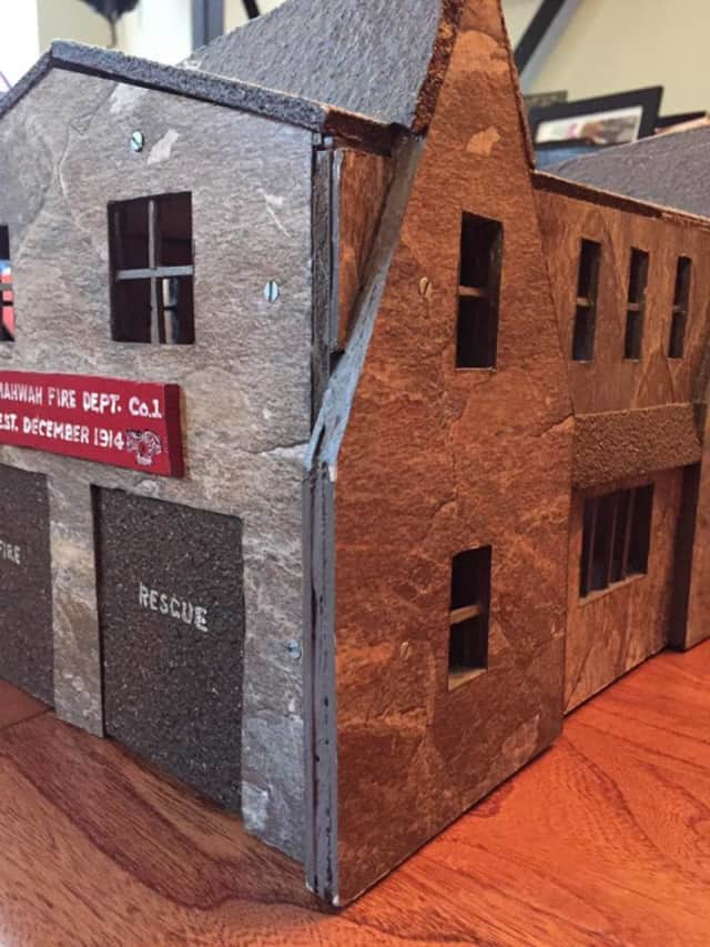 This miniature model of Mahwah Fire House is on display.