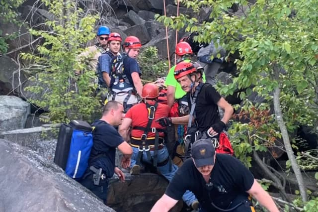 One of Sunday's rescues on the Palisades and in the Hudson River.