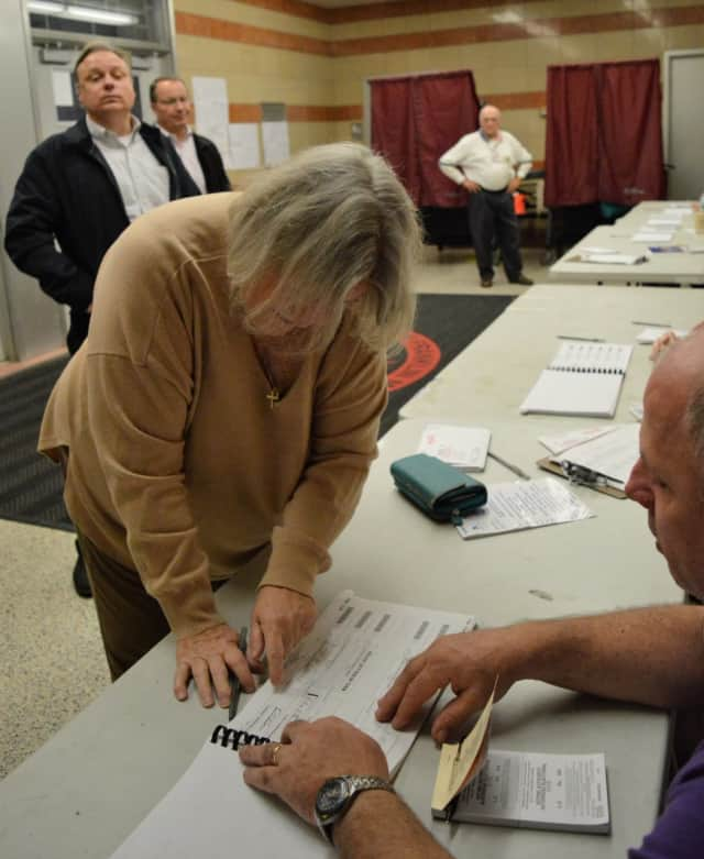 Voter turnout in Ridgewood was 61 percent by 5:30 p.m. at the Benjamin Franklin Middle School.