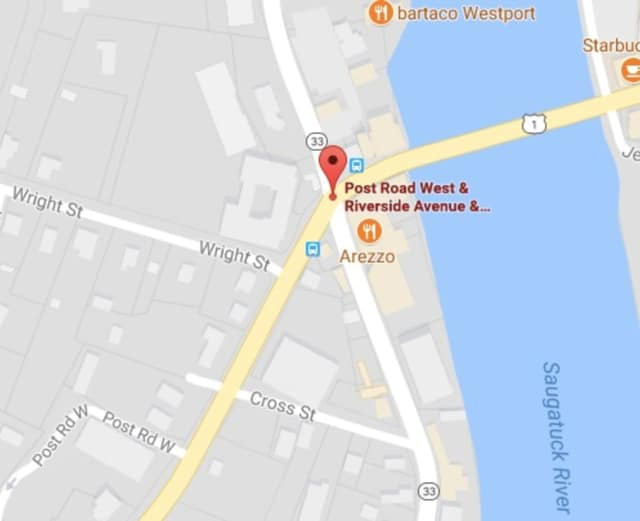A crash at the intersection of Post Road West and Riverside Avenue in Westport is causing delays on Monday.
