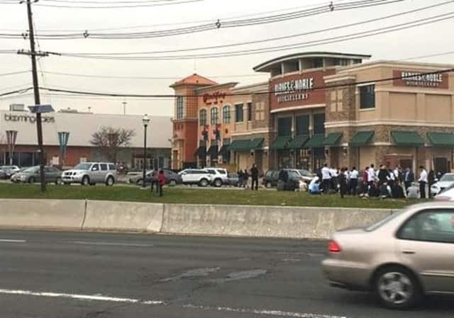 The scene outside the mall as evacuations began.