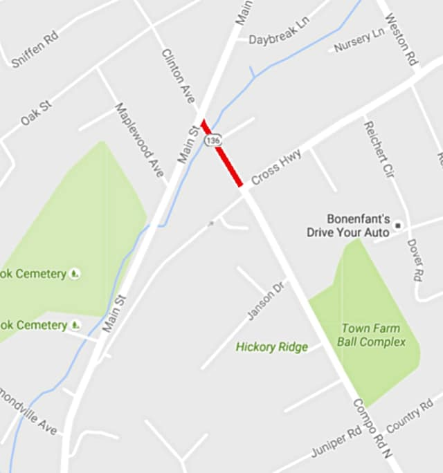 A portion of North Compo Road is closed for about a month.
