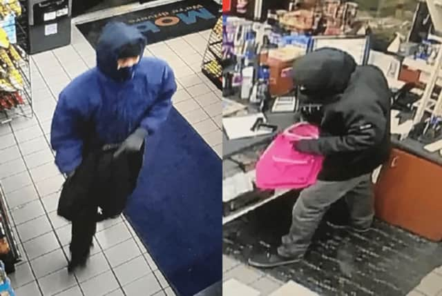 Police are seeking two men who robbed a Mobil/Dunkin Donuts on East Avenue Friday night.