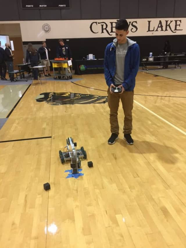 A Ridgewood High School student at the FIRST Technology Challenge at Englewood.