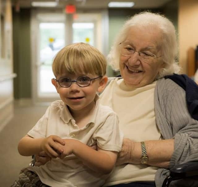 """A great grandson visits his """"bubba"""" at The Jewish Home in River Vale."""