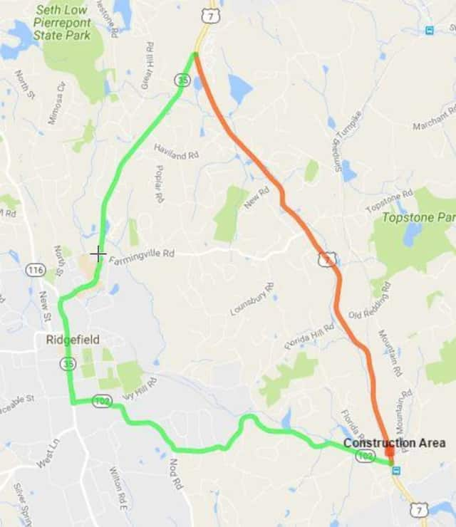 A section of Route 7 in Ridgefield will be closed to thru traffic this weekend. The detour route is shown in green and the road closure is depicted in orange.