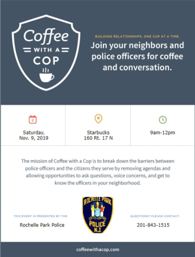 Come meet the borough's finest from 9 a.m. till noon at the northbound Route 17 Starbucks.