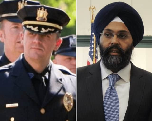 Rutherford Police Chief John Russo, Bergen County Prosecutor Gurbir S. Grewal