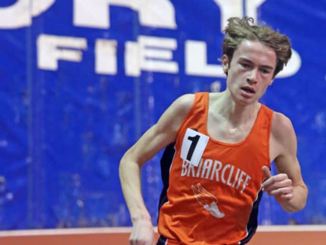 Briarcliff High School's Ryan Gallagher earned first place in the mile run at the Ossining Relays on April 9 with a time of 4:41.3