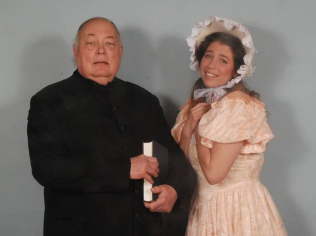 """John Matilane of Armonk (Dr. Daly) and Brett Kroeger of Riverside (Constance), are in Gilbert and Sullivan's """"The Sorcerer"""" with performance on April 16 and 23 in Norwalk Concert Hall."""