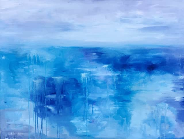 """Blue Water"" by Charlotte Sabbagh will be featured in a February exhibition at The Geary Gallery of Darien."