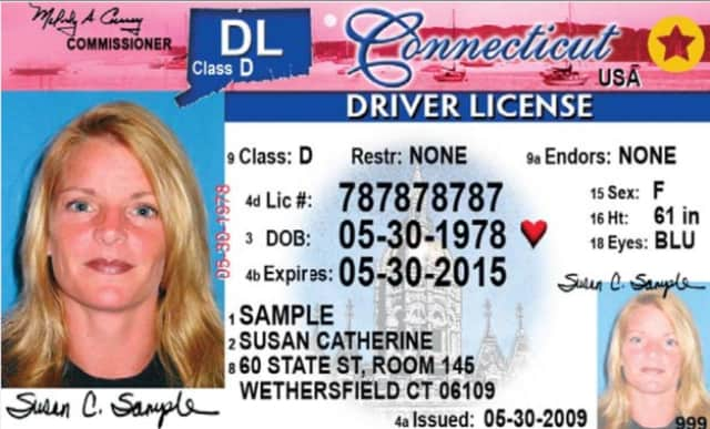 A sample Connecticut driver's license.