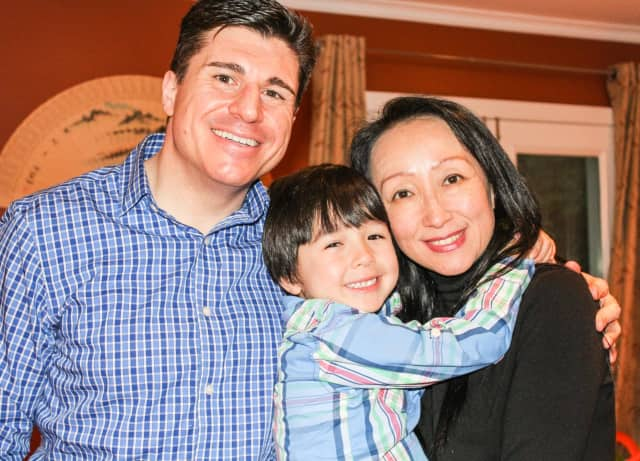 "Samuel Li Weintraub with his parents, Lin and Robert. Samuel currently stars in the play ""Miss Saigon"" on Broadway."