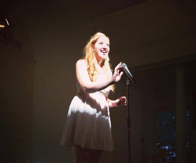 Student Sarah Daleo performs a solo at Spotlight Art's Winter Wonderland Cabaret in New Fairfield.