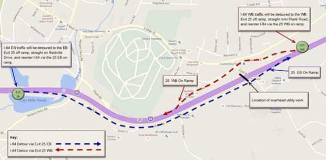 I-84 will be closed in both directions overnight Saturday in Waterbury for utility work.