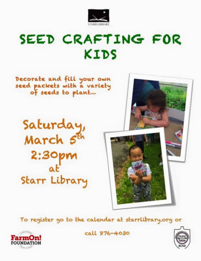 Kids will decorate and fill their own seed packets with various seeds for planting.