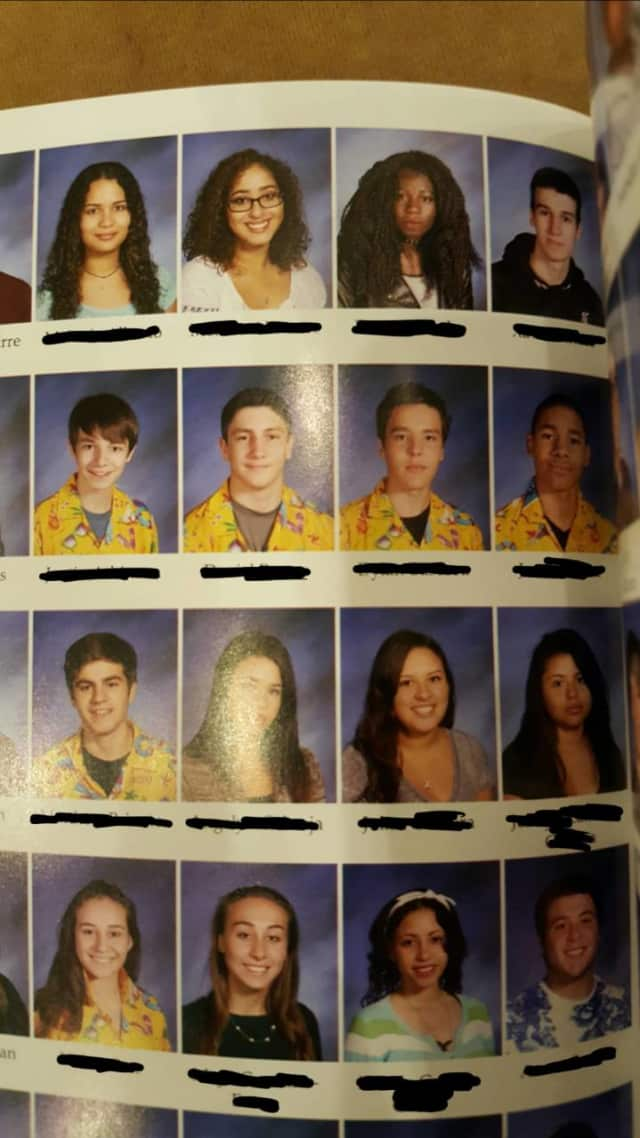 Nearly 60 Sleepy Hollow High School students wore identical Hawaiian shirts on yearbook picture as part of a prank.