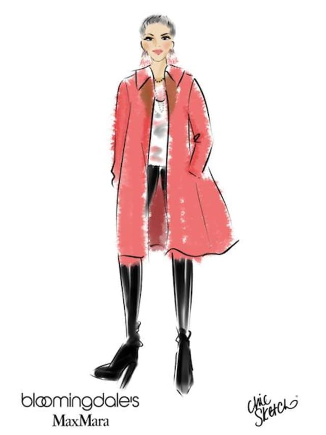 Chic Sketch's digital portrait of WAG editor-in-chief Georgette Gouveia in a reversible Max Mara coat.