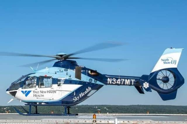 The Yale New Haven Hospital's medical helicopter SkyHealth will be landing in Wilton on Saturday.