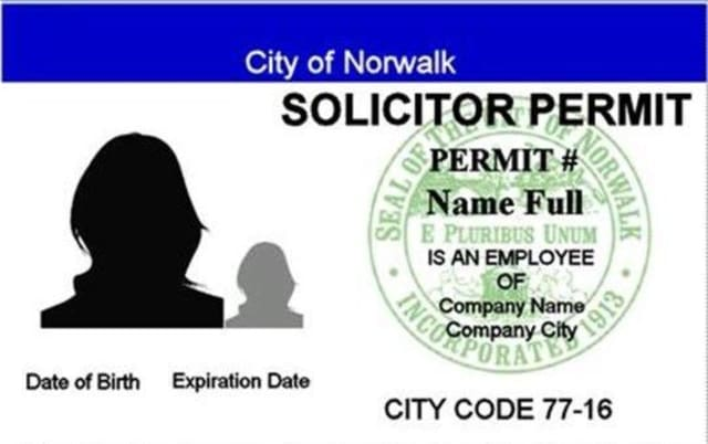 The permits that solicitors are required to get in Norwalk.