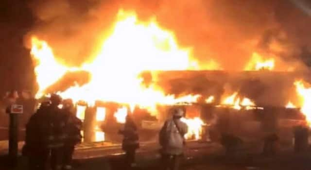 Crews are battling a three-alarm fire at Sprain Brook Nursery off of Underhill Road in the Edgemont section of Greenburgh Sunday night.